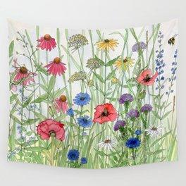 Watercolor of Garden Flower Medley Wall Tapestry