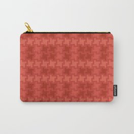 Geometric Houndstooth Check Pattern of Abstract Woven Tiles in Red Carry-All Pouch