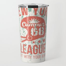 The emblem of the rugby team from New York in retro style Travel Mug