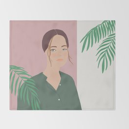 Summer Breeze, girly, fashion illustration, illustration, aloha, summer, tropical, hawaiian art Throw Blanket