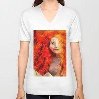 redhead V-neck T-shirts featuring brave RedHead  by Julia Kovtunyak