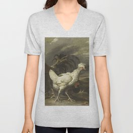 Pieter Jansz. van Ruyven - Cock, a Hen and other Poultry Unisex V-Neck