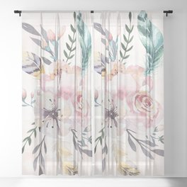 Forest Floral Pink by Nature Magick Sheer Curtain