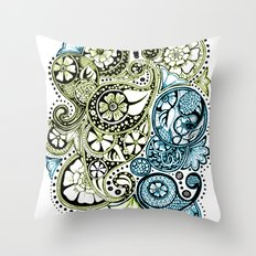 Blue Lime Paisley Throw Pillow