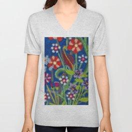 Starry Floral Felted Wool, Blue Unisex V-Neck