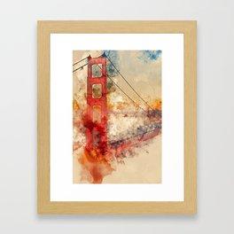 Golden Gate Bridge - Watercolor Framed Art Print
