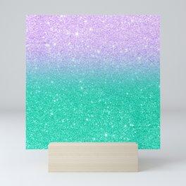 Mermaid purple teal aqua FAUX glitter ombre gradient Mini Art Print
