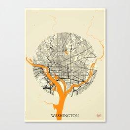 Washington Map Moon Canvas Print