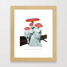 amanita muscaria with children Framed Art Print