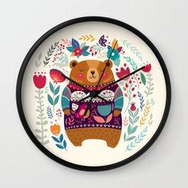 Cute Cozy Watercolour Illustration Scandinavian Lonely Teddy Bear In Fair Isle Sweater Wall Clock