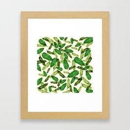 falling leaves // tropical leaf pattern Framed Art Print