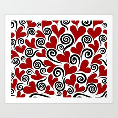 Red Hearts & Swirls Art Print