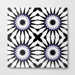 Black White Blue Pinwheel Flowers Metal Print