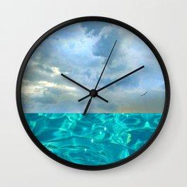 seascape 006: solo flight over swimming pool Wall Clock