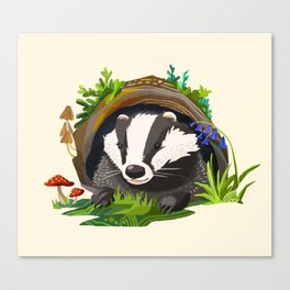 Badger and Bluebells Canvas Print