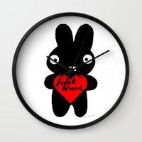 bunny Wall Clocks featuring Bunny by Sylwia Borkowska