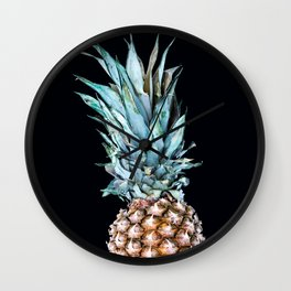 Pineapple On A Black Background #decor #society6 Wall Clock
