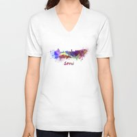 seoul V-neck T-shirts featuring Seoul skyline in watercolor by Paulrommer