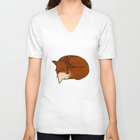 fireflies V-neck T-shirts featuring Foxes & Fireflies by Kay Allan