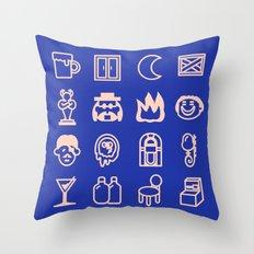 Moonside deep blue 1 Throw Pillow