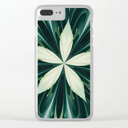 White Leaves In A Green Forest Kaleidoscope Clear iPhone Case