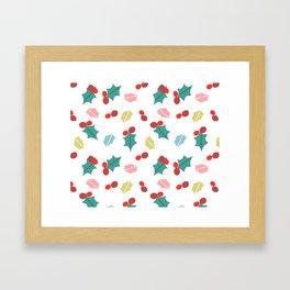 cute mistletoe white Framed Art Print