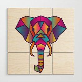 Elephant   Geometric Colorful Low Poly Animal Set Wood Wall Art