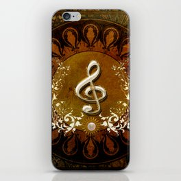 Music, wonderful decorative clef iPhone Skin