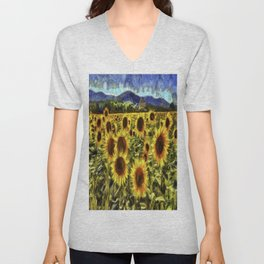 Sunflowers Vincent Van Gogh Unisex V-Neck