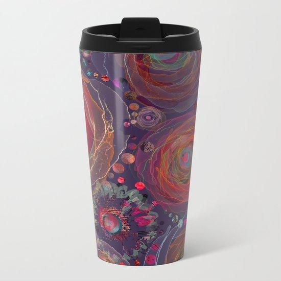 Floral abstract(53). Metal Travel Mug