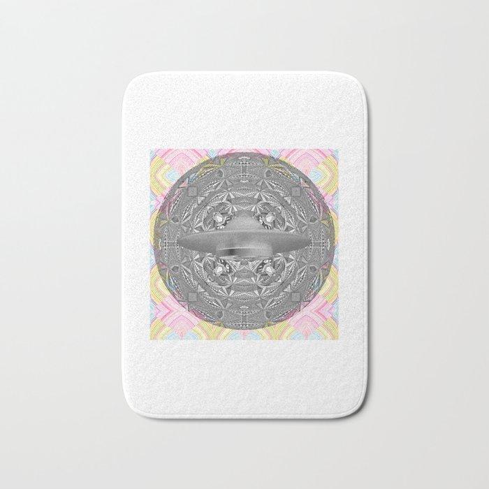 UFO Space Mandala Art Print Bath Mat