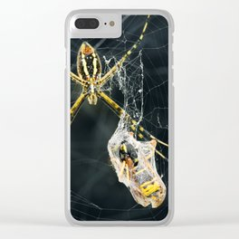 Yellow Garden Spider With Prey Clear iPhone Case
