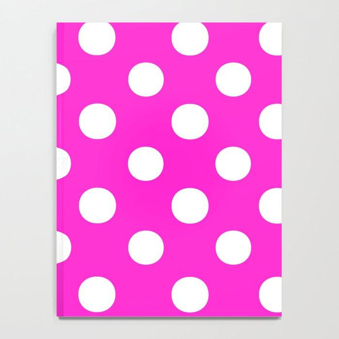 Polka Dots (White/Hot Magenta) Notebook