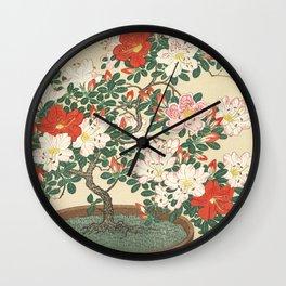 Vintage Azalea Japanese Woodcut Wall Clock