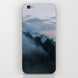 Dolomite Mountains Sunset covered in Clouds - Landscape Photography iPhone Skin