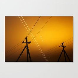 Pillar for electricity wire on twilight time Canvas Print