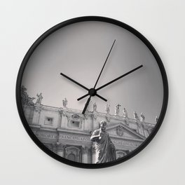 St. Peter's Basilica, Vatican City, Rome, architecture photography, black & white, Baroque Wall Clock