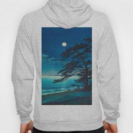 Vintage Japanese Woodblock Print Moonlight Over Ocean Japanese Landscape Tall Tree Silhouette Hoody