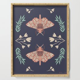 Moth and Flower Botanical Print Serving Tray