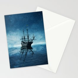 ghost ship blue reflection Stationery Cards