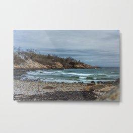 Grey Day Waves at Folly Cove Metal Print