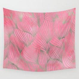 Pretty Pink Palm Petal Print Wall Tapestry