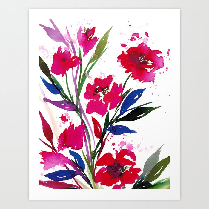 POCKETFUL OF POSIES 1 Colorful Summer Watercolor Floral Painting Abstract Red Blue Pink Flowers Art
