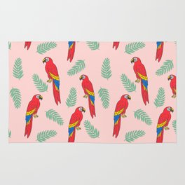 Macaw parrot tropical bird jungle animal nature pattern Rug