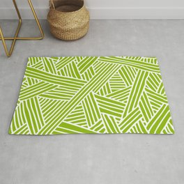 Abstract apple green & white Lines and Triangles Pattern - Mix and Match with Simplicity of Life Rug