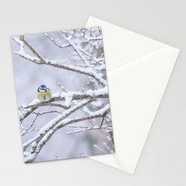 Blue Tit On A Snowy Branch Winter Scene #decor #society6 Stationery Cards