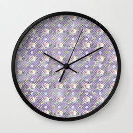 Roses & Forget Me Nots Polka Dotted Puple Wall Clock