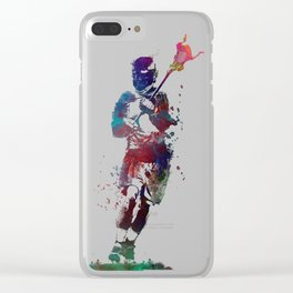 Lacrosse player art 2 Clear iPhone Case
