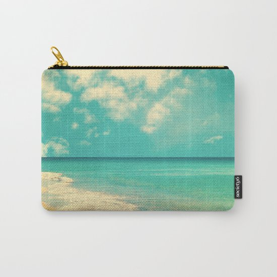 Retro beach and turquoise sky (square) Carry-All Pouch