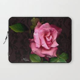 Pink Rose on Black Lace, Scanography Laptop Sleeve